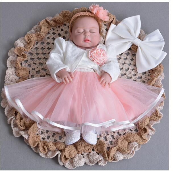 Baby Girl's Pageant Suits 2017 Summer Flower Christening Dress+Lace Headband+Coat Infant 3PCS Sets Kids Birthday Formal Outfits lace chiffon flower headband vintage headband baby headband lace headband