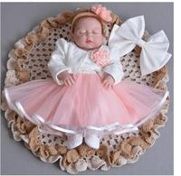 Baby Girl S Pageant Suits 2017 Summer Flower Christening Dress Lace Headband Coat Infant 3PCS Sets