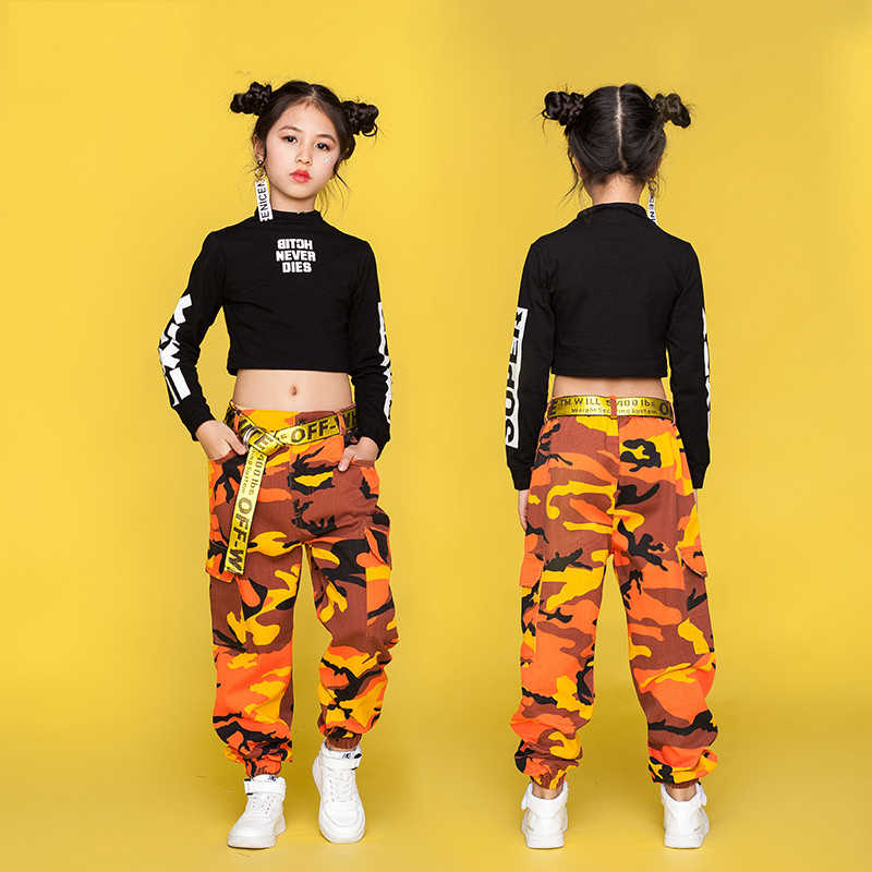 870e91d9248b Hip Hop Costume Kids Street Dance Clothing Black Long Sleeve Tops Camouflage  Pants Children Jazz Dance