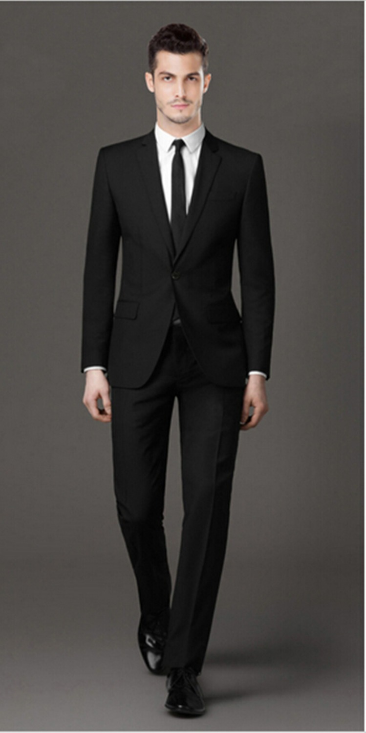 Men's black formal suit men's wedding the groom wear business suit ...