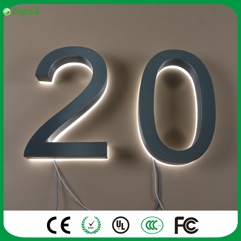 Custom geborsteld rvs LED huisnummers verlichte voor woondecoratie ...