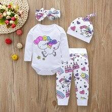 Комплекты одежды для новорожденных и маленьких девочек, топы с изображением единорога, замка Пегаса, звезды+ штаны+ шапочка+ повязка на голову, 4 предмета, одежда для маленьких девочек
