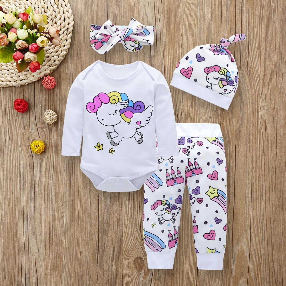 Conjuntos de ropa para bebés recién nacidos unicornio de moda Pegaso estrella corazón Castillo Tops + Pantalones + sombrero + diadema 4 piezas de ropa para niña