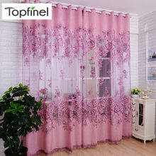 Topfinel Luxury Jacquard Embroidered Sheer Curtains for Living Room Bedroom Window Tulle Curtains Floral Style Design 1 Panel(China)