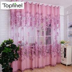 Topfinel luksusowe żakardowe haftowane prześwitujące firanki do salonu sypialnia tiulowe zasłony do okien styl w kwiaty Design 1 Panel
