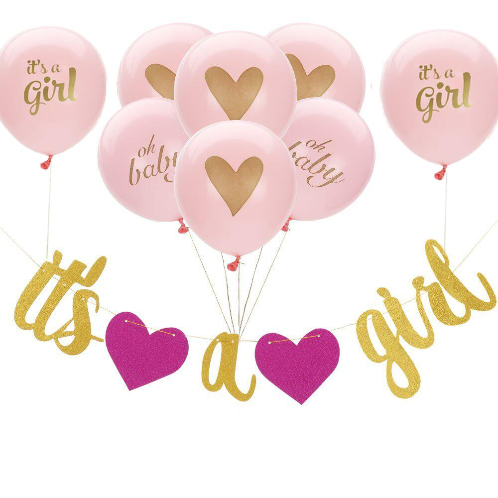 Baby Shower Banner 9pcs Baby Balloons And Oh Girl Gold Glitter