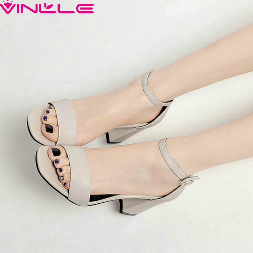 VINLLE 2017 Women Pumps Square High Heels Western Style PU Cow Leather Summer Buckle Ankle Strap Ladies Summer Shoes Size 34-39 panasonic ag hpx174