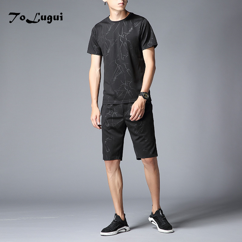 Men Short Sleeve With Shorts Two Piece Set 2018 Summer Brand Mens Tracksuits Thin Ice Silk Mans Sportswear Tops Short Sets