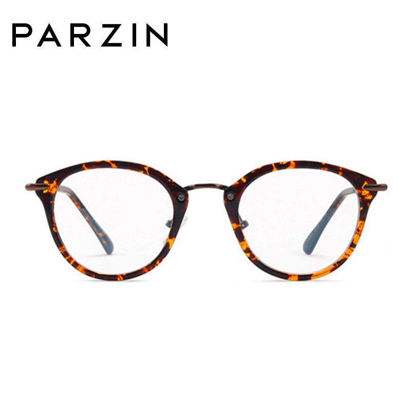 PARZIN Plain Glasses Tr 90 Eyeglasses Frame Fashion Full Glasses Frame Vintage Clear Lenses Reading Glasses With Case Black 5056