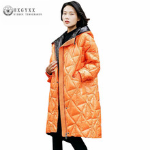Pure Color Argyle Hooded Goose Feather Jacket Plus Size Duck Down Woman Coat Winter 2017 Loose Warm Canada Parka Female Oka757(China)