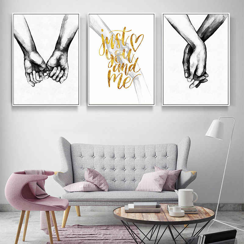 Black and White Lover Hand Picture Home Decor Nordic Canvas Painting Wall Art Print Drawing Minimalist Decor Posters for Bedroom