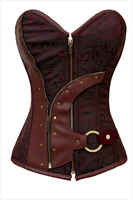 Sexy plus size Vintage Steampunk Corset Waist Steel Boned brown Corselet Top Women Gothic Overbust halloween costumes