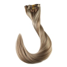 Full Shine 7Pcs Blonde Highligted  Color #10 and #613 Double Weft Clip In Human Hair Extensions 50g Real Human Hair Extensions