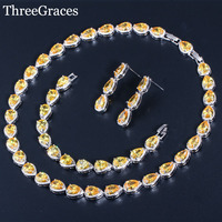 ThreeGraces 3Pcs Yellow Teardrop Crystal Wedding Jewelry Bridal Cubic Zircon Bracelets Earrings Necklace Set For Brides JS154