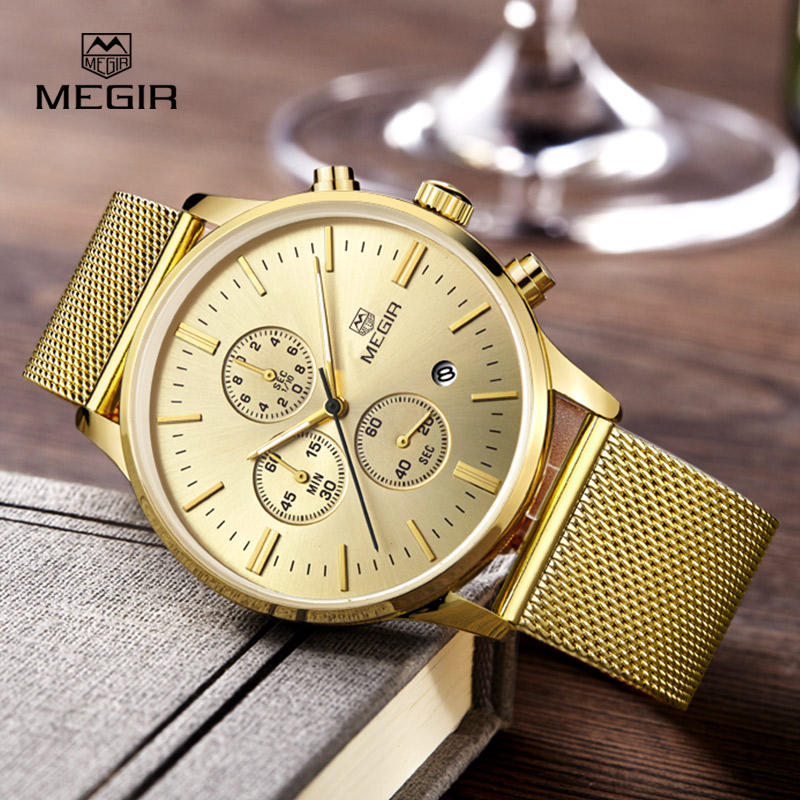 MEGIR Chronograph Mens Watches Top Brand Luxury Quartz Watch Stainless Steel Mesh Slim Men Watches Sport Wristwatch Reloj Hombre