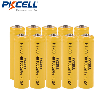 10pcs/lot NiCd AA Battery 1000mAh 1.2V Ni-Cd Rechargeable Batteries For LED Lights Button Top