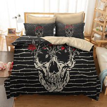 FANAIJIA 3d Sugar Skull Duvet Cover with Pillowcases Skull Luxury Bedding Sets Queen Size Bed Sets(China)