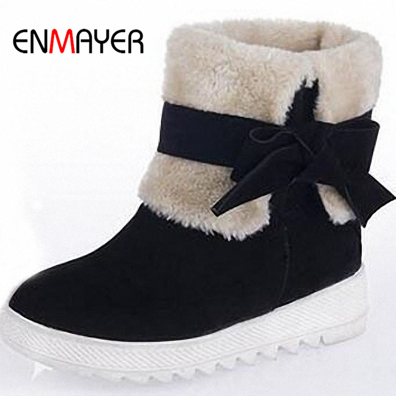 ENMAYER Fashion Women Warm Winter Shoes bow Ankle Boots Platform Round Toe Snow Boots 3colors platform boots big size 34-43 doratasia big size 34 43 women half knee high boots vintage flat heels warm winter fur shoes round toe platform snow boots