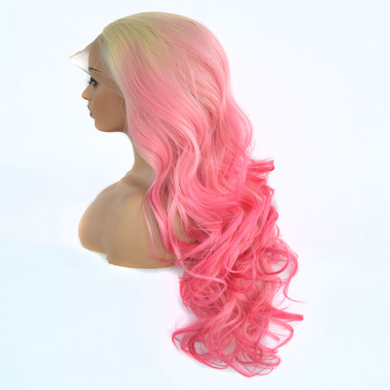 Bombshell Blonde Roots Ombre Pink Bouncy Curly Synthetic Lace Front Wig Glueless Heat Resistant Fiber Hair