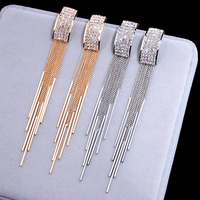 2019 New Gold Color Long Crystal Tassel clip on Earrings Without Piercing  for Women Wedding Brinco Fashion Jewelry Gifts