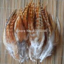 50 шт 10-15 см натуральный цвет желтая полоска Курица Петух оперение перья для изготовления ювелирных изделий завязывание мух