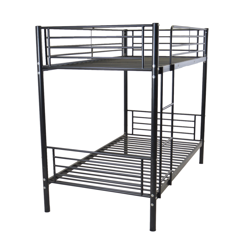 Iron Bed Bunk Bed With Ladder For Kids Twin Size Black