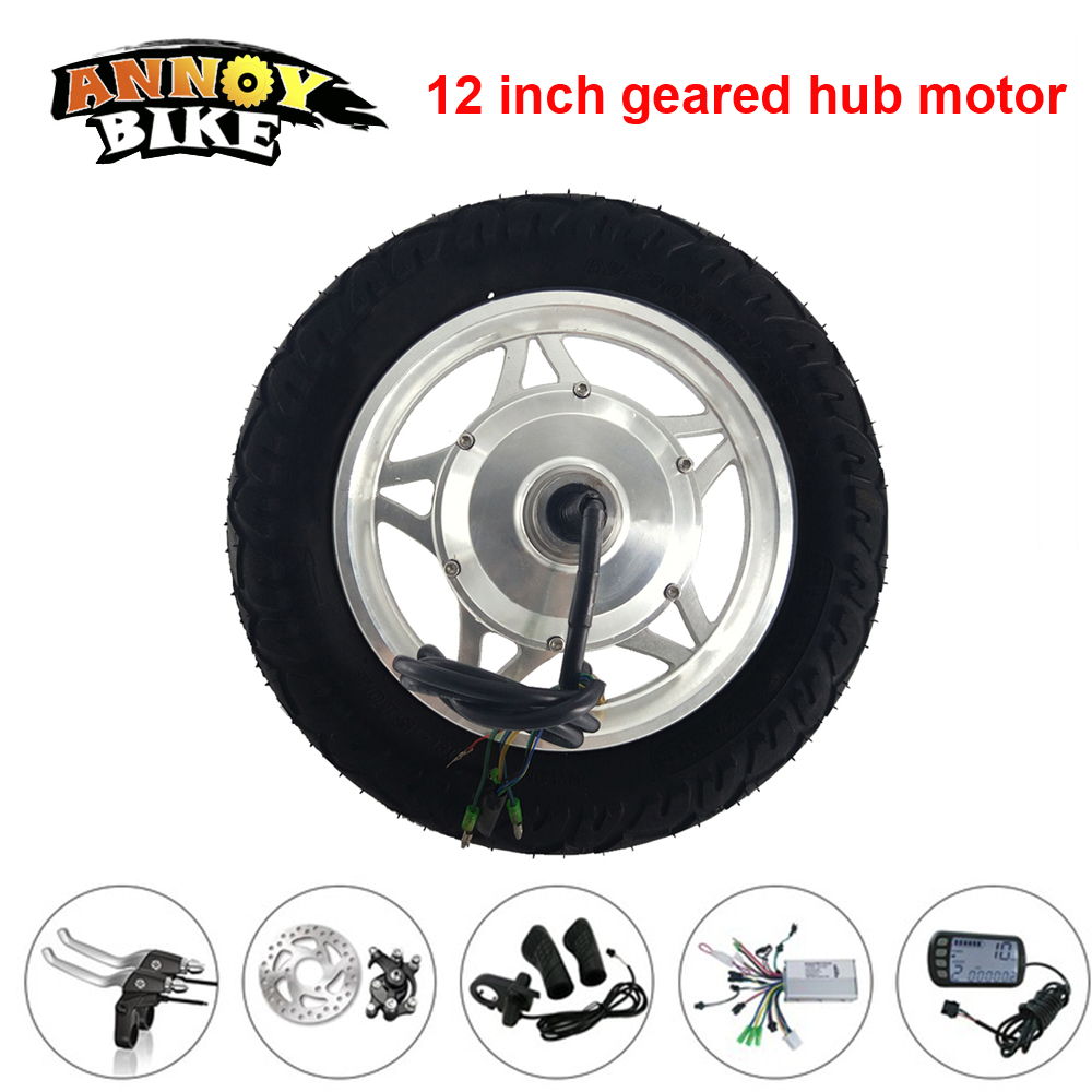 12'' Electric Wheelbarrow Gear Motor Kit 12 inch High Torque Hub Motor Narrow Tyre 24V 36V 48V 250W 350W Double Shaft