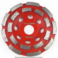 Diameter 115mm Diamond Double Row Cup Wheel For Concrete Abrasive Material 4 5inch Grinding Wheel Bore
