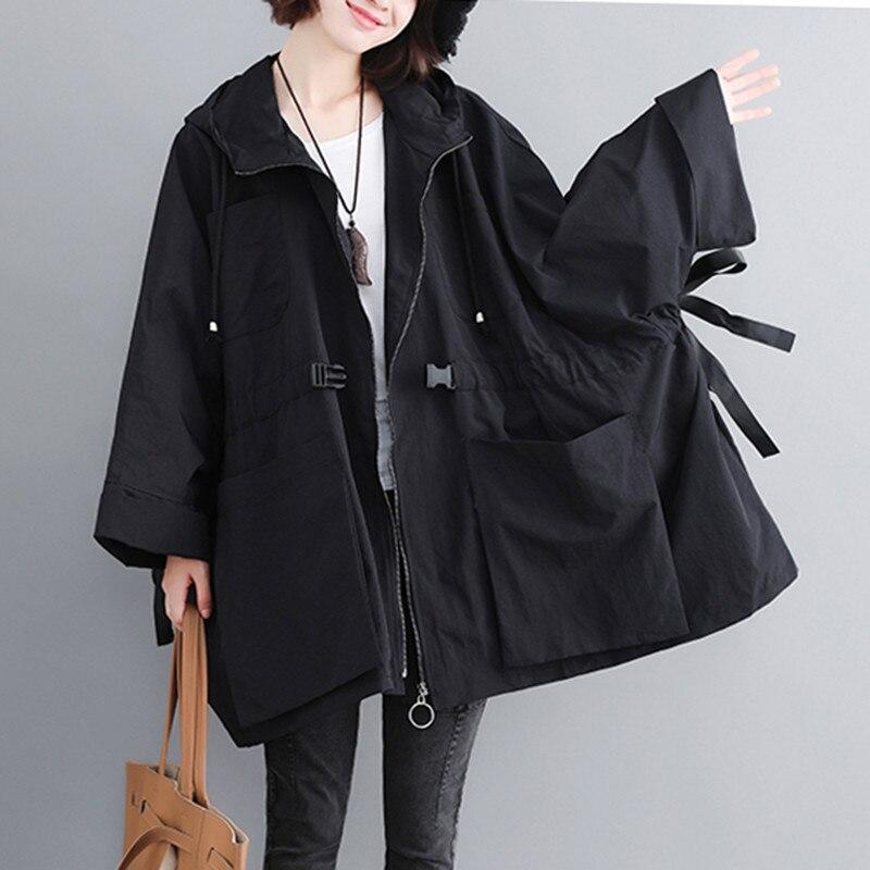 2019 New Plus Size Windbreaker Women Spring Autumn Korean Long Hooded   Trench   Coat Full Sleeve Loose Casual Ladies Outerwear Tide