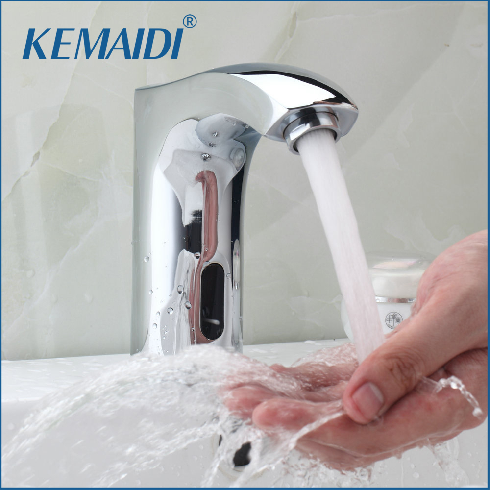 KEMAIDI New Automatic Sensor Hand Free Waterfall Bathroom Basin Sink Faucet Chrome Hot And Cold Mixer Tap Bathroom Sense Faucets automatic sensor polish chrome waterfall bathroom basin faucet cold tap plate