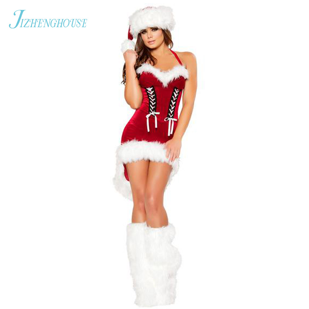 JIZHENGHOUSE Newest Red Dress Christmas Costumes Sexy Santa Holiday Dress Santa Claus Dress Cosplay Costume