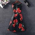 Летний Стиль 2016 Рукавов Старинные Цветок Печати Платье A-Line Повседневная Платье Vestidos Плюс размер