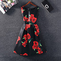 Summer Style 2016 Sleeveless Vintage Flower Print Dress A-Line Casual Party Dress Vestidos Plus size