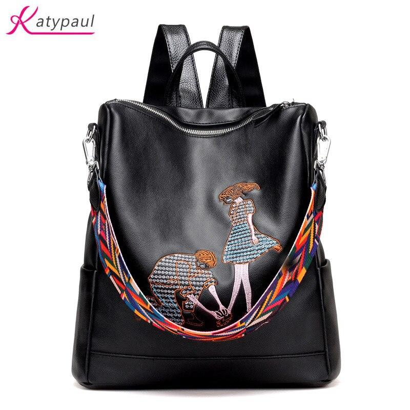 New Fashion Pu Leather Backpack Women Embroidery School Bag For Teenage Girls Brand Ladies Big Backpacks
