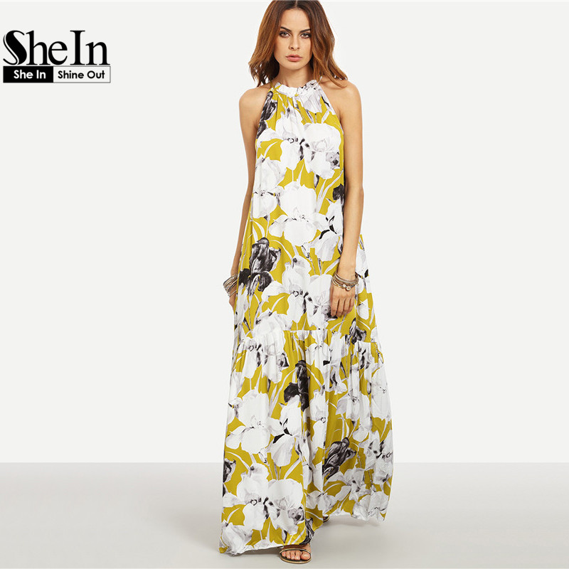 b7791491d2 SHEIN Womens Summer Long Beach Dresses Boho Ladies New Style Fashion  Multicolor Floral Print Sleeveless Maxi Dress