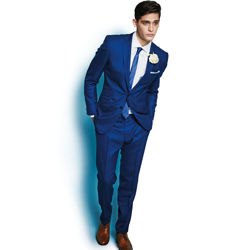 Glamorous Royal Blue Formal Suits Slim Fit Groom Tuxedos Wedding