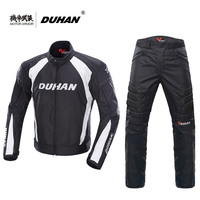 DUHAN Motorcycle Black Jacket Motocross Suits Jacket Pants Moto Protective Gear Armor Motorcycle Racing Jackets Summer