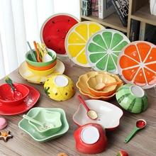 Кухонная посуда фруктовое блюдо, керамическая креативная Милая рисовая десертная чаша, японский креативный керамический детский мультяшный набор столовых приборов