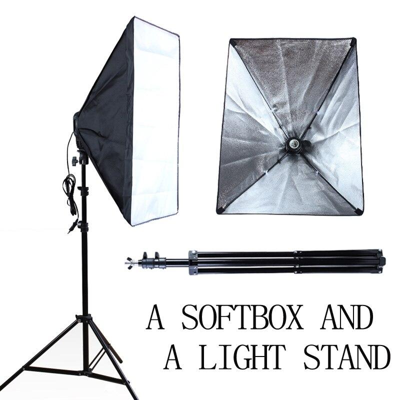 사진 스튜디오 50 * 70cm 소프트 박스 E27 단일 램프 홀더 100-240V 연속 조명 기관총 소프트 박스 2m 라이트 스탠드 사진 램프