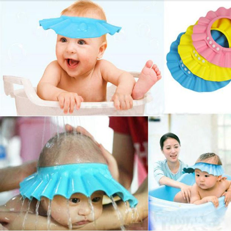New 1pc Adjustable Shower Cap,protect Shampoo For Baby Health Bathing Waterproof Hat Kid Wash Hair Shield Hat Yl870060 Price Remains Stable Furniture