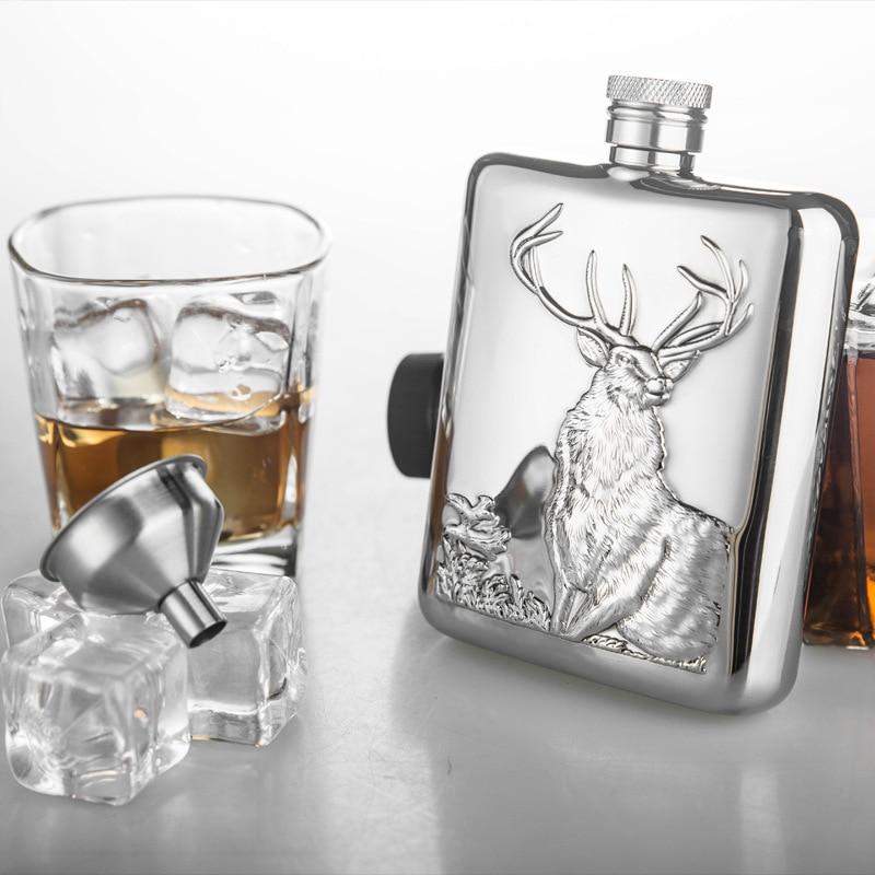 Petaca de acero inoxidable de 6 onzas de alta calidad personalizada con frasco de Alcohol de embudo caja