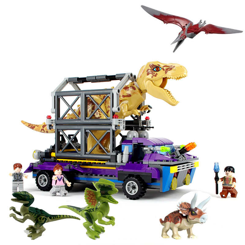 Jurassic Dinosaurs Arrested Tyrannosaurus Rex Dinosaur Base Escape Building Blocks Toys For kids Christmas Gift Legoings BKX78