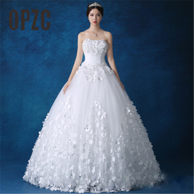 Luxury Crystal Pearls lace 3D flower Sweetheart White Ivory Red Champagne Fashion Sexy Wedding Dresses brides