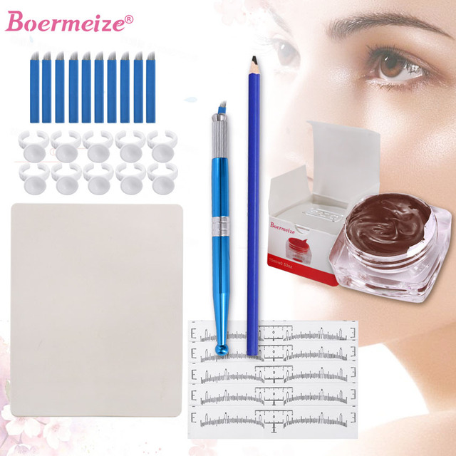 Eyebrow Microblading Kit Tattoo Blades Needles Ink Cup Manual Pen Eyebrow Stencil Pencil Practice Skin Set Permanent Makeup Kit