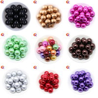 Cordial Design Charms Jewelry Colorful 6 20MM Acrylic Round Imitation Pearl Beads For Chunky Beads Necklace
