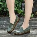 2017 Весной Новый Досуг Обувь Из Натуральной Кожи Квартиры Круглый Toe Большой Размер Мягкое Дно Женская Обувь Досуг Литературы Обувь