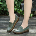 2017 Spring New Leisure Shoes Genuine Leather Flats Round Toe Large Size Soft Bottom Women Shoes Leisure Literature Shoes