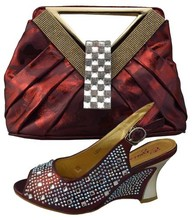 Elegant Italian Women Shoes And Bag Set High Quality Matching Italian Shoes And Bag Set Wedding Pumps Shoes Wine Color 1308-402