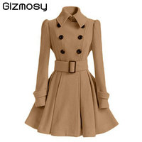 2017 Fur Collar Winter Coat Women Casaco Feminino Abrigos Mujer A Line Vintage Double Breasted Coat