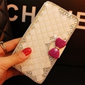 5 colors Luxury Bling Rhinestone Diamond  & Crystal Wallet flip PU leather case  for Samsung galaxy S4 S5 S6 with card slot